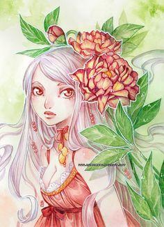 Vanille and peonies -watercolors- by auroreblackcat.deviantart.com on @deviantART