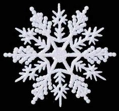 "36 - 6-1/2"" White Glitter Snowflake Ornaments Winter Wedding Favors or Ornaments"