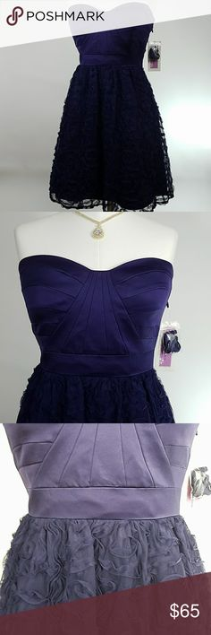 NWT! Hailey Logan by Adrianna Papell dress 10 Purple semi-formal/formal caged back dress. Light pads & boning through bodice to maintain form. Coating at top front inside to help it stay in place. Optional halter style strap included. Hidden side zipper. Rhinestone detailing at center of caged back. Tapers to slight V at back waist. Decorative mesh skirt overlays satin. Tulle layer between satin and lining. Fully lined. Adrianna Papell Dresses