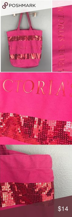 Victoria Secret Pink Sequin Large Tote Purse Victoria Secret Pink Sequin Large Tote Purse.   •Condition:  VGUC, few minor marks but nothing that significantly stands out. Fading on handles.  Please feel free to comment with any questions (no trades/modeling). 15% off all Bundles or 2+ items! Reasonable offers welcome.   BIN: C1 Victoria's Secret Bags Totes