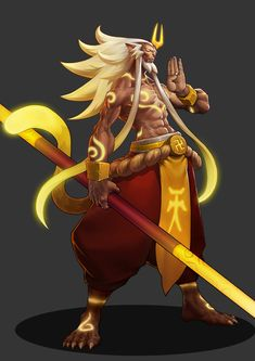 Monkey King~ by Ocean South. Character Design Animation, Fantasy Character Design, Character Creation, Character Design Inspiration, Character Concept, Character Art, Concept Art, Fantasy Warrior, Fantasy Art