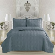 Home Fashion Designs Terra Collection Embroidered 3-piece King Size Quilt Set in Optic