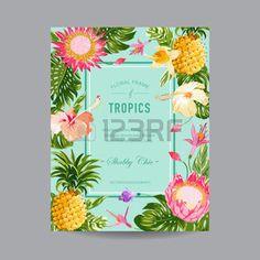 fleurs tropicales: Floral Frame Tropical - Invitation, mariage, bébé douche carte - dans le vecteur
