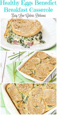 This was so easy to put together and tasted absolutely delicious. Perfect for Thanksgiving morning - Healthy Eggs Benedict Breakfast Casserole - Low Calorie, Low Fat Recipe