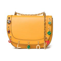 Valentino Lucky Rockstud Charm Bag ($2,945) ❤ liked on Polyvore featuring bags, handbags, shoulder bags, kirna zabete, leather handbags, valentino handbags, valentino purses, yellow leather handbag and leather purse