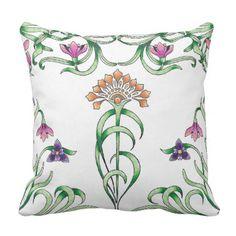 Art Deco Floral Throw Pillow - flowers floral flower design unique style