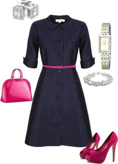navy with a punch of bright pink
