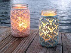 lace mason jars candles