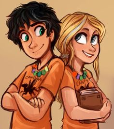 Percy Jackson and Annabeth Chase. They have their gray streaks from the titans curse (book#three)