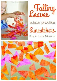 These suncatchers look just like fallen leaves and offer geat scissor practice for preschoolers, too!