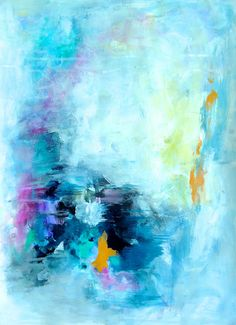 "Colorful Abstract Painting on Paper ""In the Rain""  Amira Rahim"