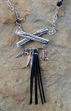 "Cowgirl Bling 24"" Necklace Set RIFLE PISTOL BOOTS FRINGE Feather GYPSY BOHO #Unbranded"