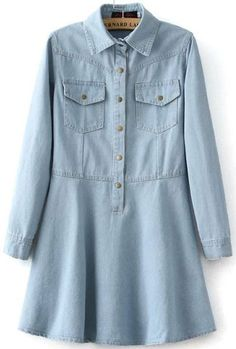 Light Blue Lapel Denim Flare Dress 20.33