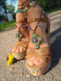 barefoot+crochet+sandals | BAREFOOT SANDALS SUMMER crochet sandals beaded sandals foot jewelry ...