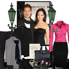 Look inspirado no casal Brad Pitt e Angelina Jolie - bolsa preta executiva