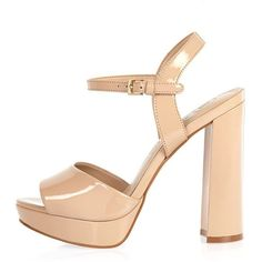 c58b819350150e River Island Nude patent platform sandals ( 44) ❤ liked on Polyvore  featuring shoes