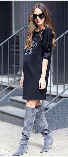 A Graphic Shift Dress and Over-the-Knee Boots