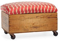 How to Build a Rolling Storage Bench - DIY Storage Containers --- Kind of a neat idea. Diy Storage Ottoman, Diy Ottoman, Bench With Storage, Crate Ottoman, Storage Units, Small Storage, Crate Storage, Ottoman Bench, Storage Benches