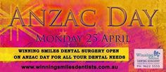 Winning Smiles Dental Surgery Opens On Anzac Day For All your Dental Needs... #Anzacday   http://winningsmilesdentists.com.au/