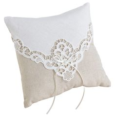 """A tan cotton country lace ring pillow has ivory lace overlay and satin bow becomes a charming accent for the wedding ceremony. It measures 7.75"""". $20.99. #wedding #ring #pillow Follow Us: http://www.kimsgiftbaskets.com/ ... ... https://www.facebook.com/KimsGifts"""