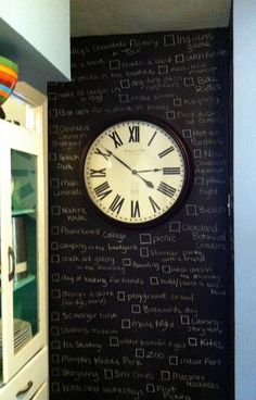 Chalkboard Wall Bucket List - we don't have the space for it, but what a neat idea.  Time is always moving forward so might as well do what you want in life