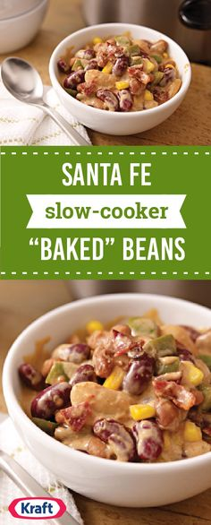 "Santa Fe Slow-Cooker ""Baked"" Beans – This slow-cooker baked bean dish gets extra flavor with the addition of crispy cooked bacon just at the end of cook time. Talk about a recipe that's perfect for fall."