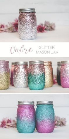 Are you in search of some awesome mason jar crafts? This list has 25 incredible craft projects from bathroom accessories to garden solar lights, that you can DIY easily using Mason Jars or jars from your recycling box! So for a huge list of easy diy craft Glitter Mason Jars, Painted Mason Jars, Solar Mason Jars, Mason Jar Painting, Glitter Top, Glitter Makeup, Mason Jar Candy, Colored Mason Jars, Mason Jar Tumbler