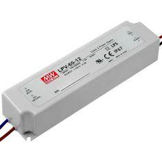 Alimentadores Meanwell serie LPV-60-12 Fuente tipo CV, voltaje constante Protección IP67 Potencia: 60w Corriente: 5 Amperios Voltaje: 12v