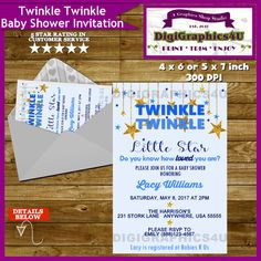 Twinkle Twinkle Little Star Blue Baby Shower by DigiGraphics4u #baby #shower #twinkle #little #star #invitation @etsy