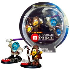 Star Wars Year 2005 Chocolate M&M Mpire Series 2 Pack 2-1/2 Inch Tall Figure - CHEWBACCA and MACE WINDU with Display Stands