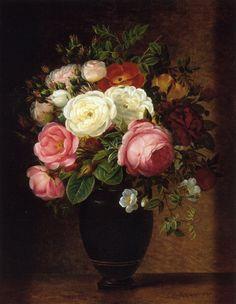 Pink and White Roses in a Black Glaze Amphora on a Brown Marble Ledge - Johan Laurentz (J.L.) Jensen - 1800 - 1856
