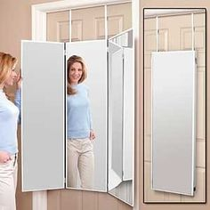 New 3 Way Dressing Mirror Overdoor Tri Fold White Hanging Dorm Mount Wall Bath | eBay