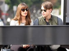"""""""Glee"""" co-stars Lea Michele 'n' Chord Overstreet got shady mid-filming! Two-toned rounded sunnies for her and classic gold aviators for him!"""