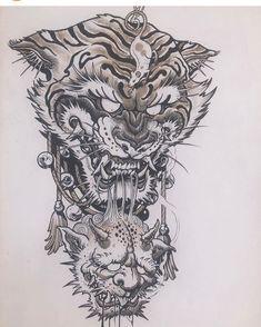 Japan Tattoo Design, Koi Tattoo Design, Tattoo Designs Men, Foo Dog Tattoo, Tiger Tattoo, Arm Tattoos Drawing, Creepy Drawings, Demon Tattoo, Hand Tats