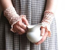 crochet lace cuffs tied pink hand warmers decorative от PetsSign, $29.50