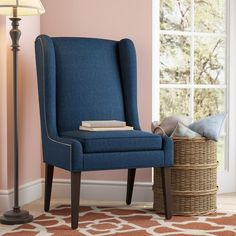 Chic Andover Wingback Chair by Three Posts top rated furniture sale from top store Round Storage Ottoman, End Tables With Storage, Table Storage, Living Room Seating, Living Room Sets, Dining Room, Dining Tables, Coffee Tables, Blue Accent Chairs