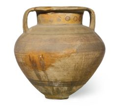 Cypriot, 9th - 8th century BC GEOMETRIC WHITE-PAINTED WARE AMPHORA pottery height: 50.7cm., 20in.