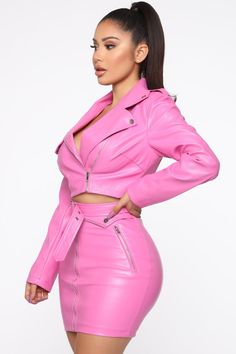 Available In PinkPU Skirt SetMoto Crop JacketMini Skirt Zipper FrontBelt FrontZip UpStretchSelf: PU, Polyester Jacket Lining: PolyesterImported Jean Sandals, Janet Guzman, Fashion Nova Models, Leather Dresses, Nova Jeans, Cut And Style, Pink Fashion, Leather Fashion, Zip Ups