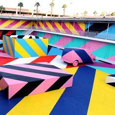 Street art and graffiti in Las Vegas: Where to go and who to see Street Art News, Best Street Art, Street Artists, Life Is Beautiful Festival, Art Intervention, Geometric 3d, Mural Art, Murals, Wall Mural