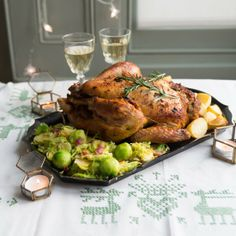 Great turkey alternative: Stuffed Capon with goose-fat potatoes and brussels sprouts