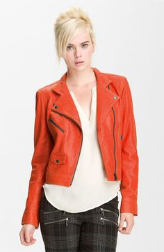 Truth & Pride Perforated Leather Biker Jacket available at Nordstrom.........What a great jacket and the color is fun fun fun!
