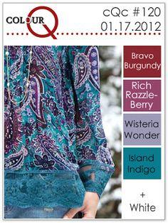 colourQ #120: January 2012 Bravo Burgundy Rich Razzleberry Wisteria Wonder Island Indigo