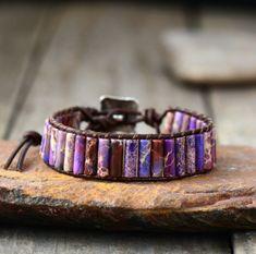 Beaded Oblong Purple Impression Jasper Wrap | Cuff Leather Bracelet