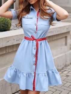 Contrast Binding Ruffles Hem Shirt Dress