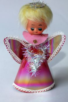 Christmas •~• vintage pink angel tree topper
