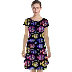 Fishes Pattern Print Cap Sleeve Nightdress by #dflcprints