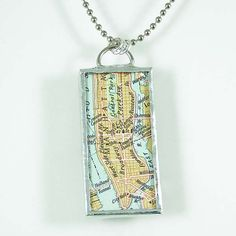 Manhattan Map Pendant $20.00 -- This is really cute!