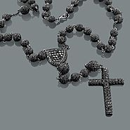 Black Disco Bead Rosary Necklace: Hip Hop Jewelry