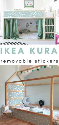 I love these gorgeous IKEA KURA bed decals! The room is so pretty, and the decals just make it! #ikea #ikeahack #stickers #decals #kidsroom #bedroom #ad