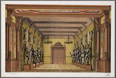 Bouwplaat van een papieren theater voorstellende een decor van een ridderzaal